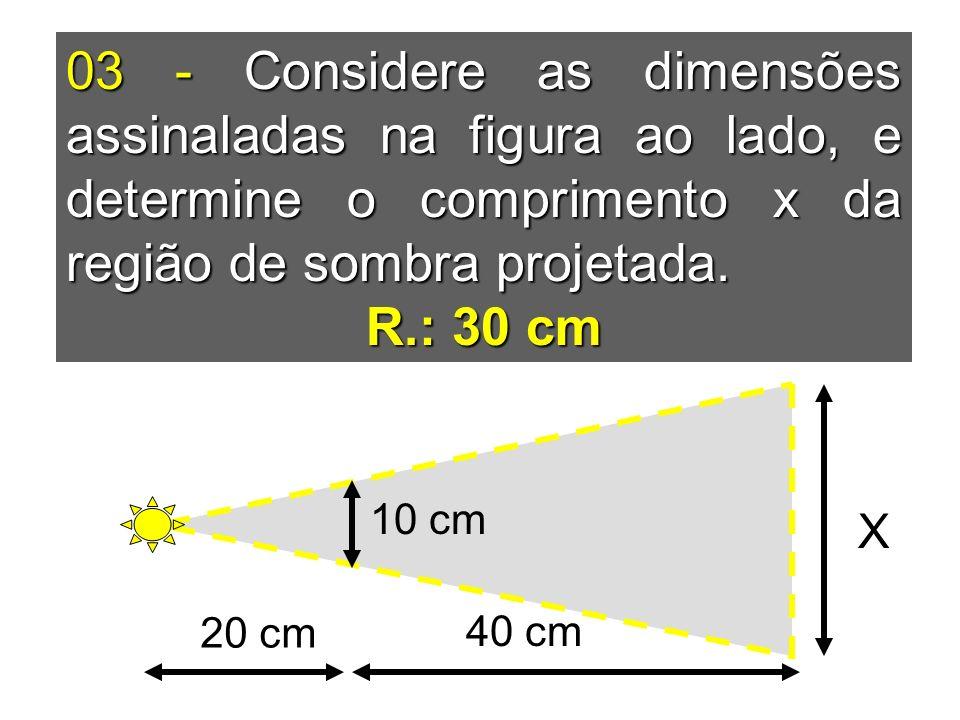 03 - Considere as dimensões assinaladas na figura ao lado, e determine o comprimento x da região de sombra projetada. R.: 30 cm 20 cm 40 cm 10 cm X