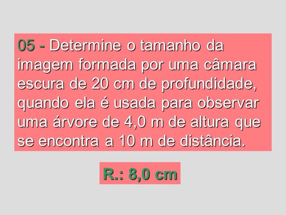 05 -Determine o tamanho da imagem formada por uma câmara escura de 20 cm de profundidade, quando ela é usada para observar uma árvore de 4,0 m de altu