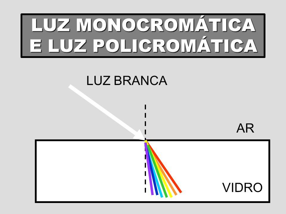 VELOCIDADE DA LUZ A velocidade da luz é máxima no vácuo (3,0.10 8 m/s); A velocidade da luz, no vácuo, é igual para todas as cores; Em qualquer meio material, a velocidade da luz é menor que no vácuo; Ano luz É a distância percorrida pela luz em um ano.