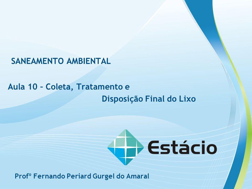 SANEAMENTO AMBIENTAL Aula 10 – Coleta, Tratamento e Disposição Final do Lixo Profº Fernando Periard Gurgel do Amaral