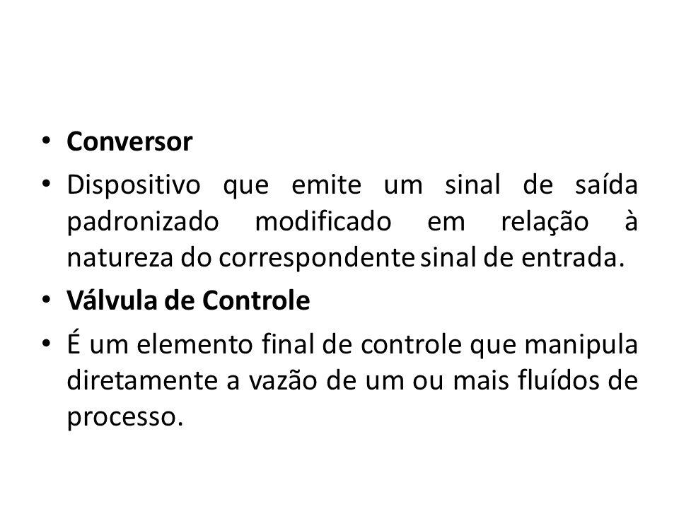 Conversor Dispositivo que emite um sinal de saída padronizado modificado em relação à natureza do correspondente sinal de entrada. Válvula de Controle