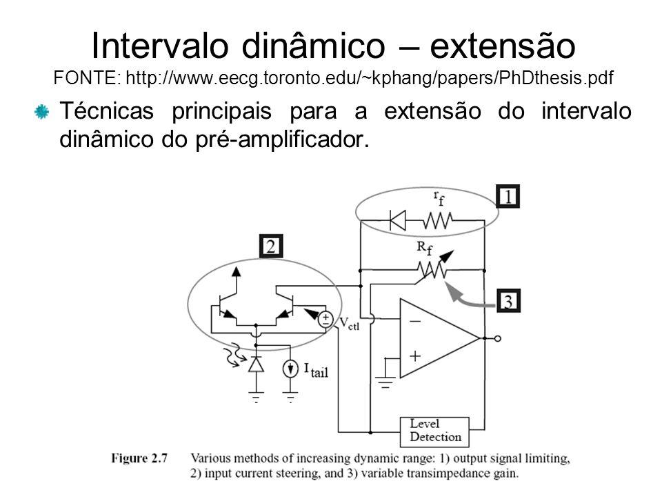 Intervalo dinâmico – extensão FONTE: http://www.eecg.toronto.edu/~kphang/papers/PhDthesis.pdf Técnicas principais para a extensão do intervalo dinâmico do pré-amplificador.