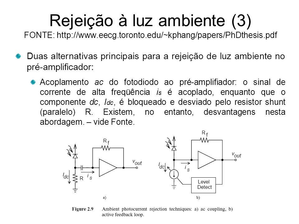 Rejeição à luz ambiente (3) FONTE: http://www.eecg.toronto.edu/~kphang/papers/PhDthesis.pdf Duas alternativas principais para a rejeição de luz ambiente no pré-amplificador: Acoplamento ac do fotodiodo ao pré-amplifiador: o sinal de corrente de alta freqüência i s é acoplado, enquanto que o componente dc, I dc, é bloqueado e desviado pelo resistor shunt (paralelo) R.