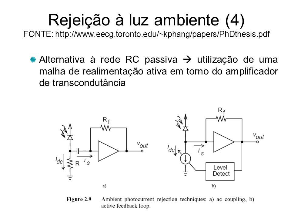 Rejeição à luz ambiente (4) FONTE: http://www.eecg.toronto.edu/~kphang/papers/PhDthesis.pdf Alternativa à rede RC passiva utilização de uma malha de realimentação ativa em torno do amplificador de transcondutância