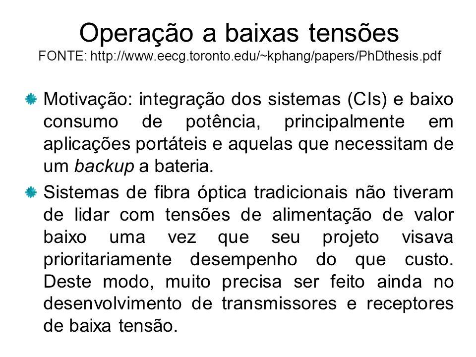 Operação a baixas tensões FONTE: http://www.eecg.toronto.edu/~kphang/papers/PhDthesis.pdf Motivação: integração dos sistemas (CIs) e baixo consumo de potência, principalmente em aplicações portáteis e aquelas que necessitam de um backup a bateria.