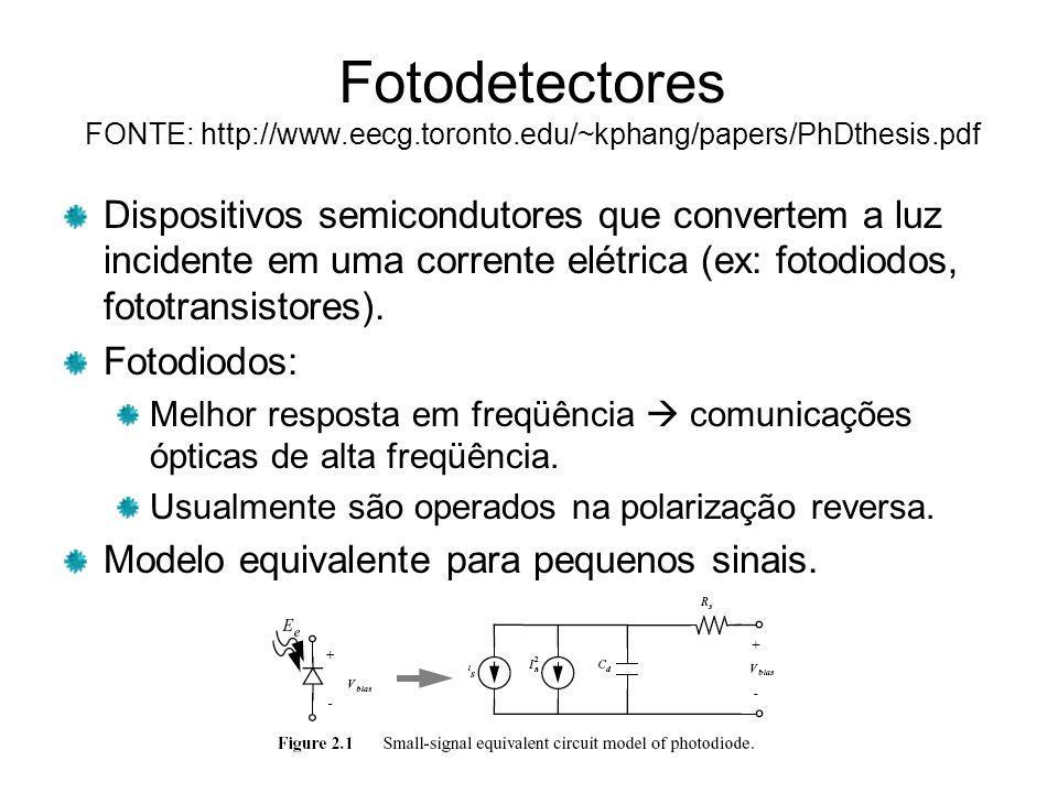 Fotodetectores FONTE: http://www.eecg.toronto.edu/~kphang/papers/PhDthesis.pdf Dispositivos semicondutores que convertem a luz incidente em uma corrente elétrica (ex: fotodiodos, fototransistores).