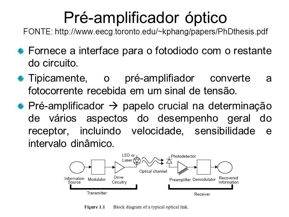 Pré-amplificador óptico FONTE: http://www.eecg.toronto.edu/~kphang/papers/PhDthesis.pdf Fornece a interface para o fotodiodo com o restante do circuito.