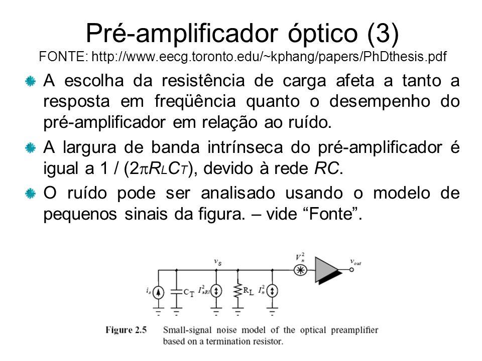 Pré-amplificador óptico (3) FONTE: http://www.eecg.toronto.edu/~kphang/papers/PhDthesis.pdf A escolha da resistência de carga afeta a tanto a resposta em freqüência quanto o desempenho do pré-amplificador em relação ao ruído.