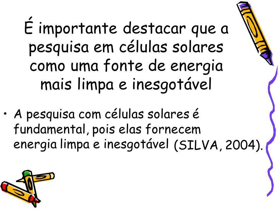 É importante destacar que a pesquisa em células solares como uma fonte de energia mais limpa e inesgotável A pesquisa com células solares é fundamenta