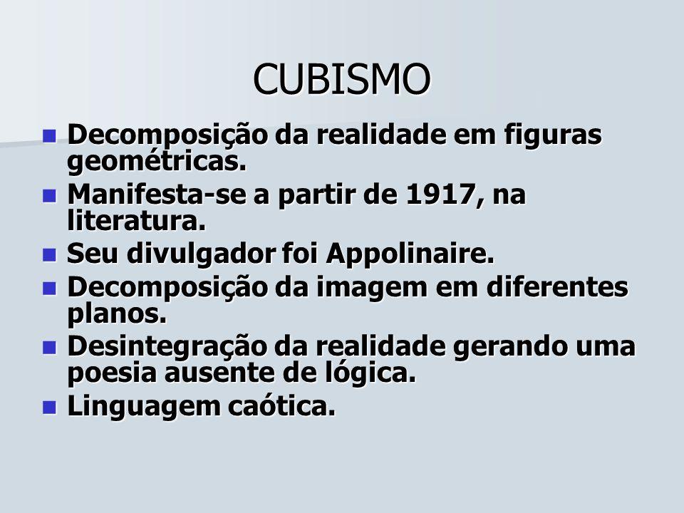 CUBISMO Decomposição da realidade em figuras geométricas. Decomposição da realidade em figuras geométricas. Manifesta-se a partir de 1917, na literatu