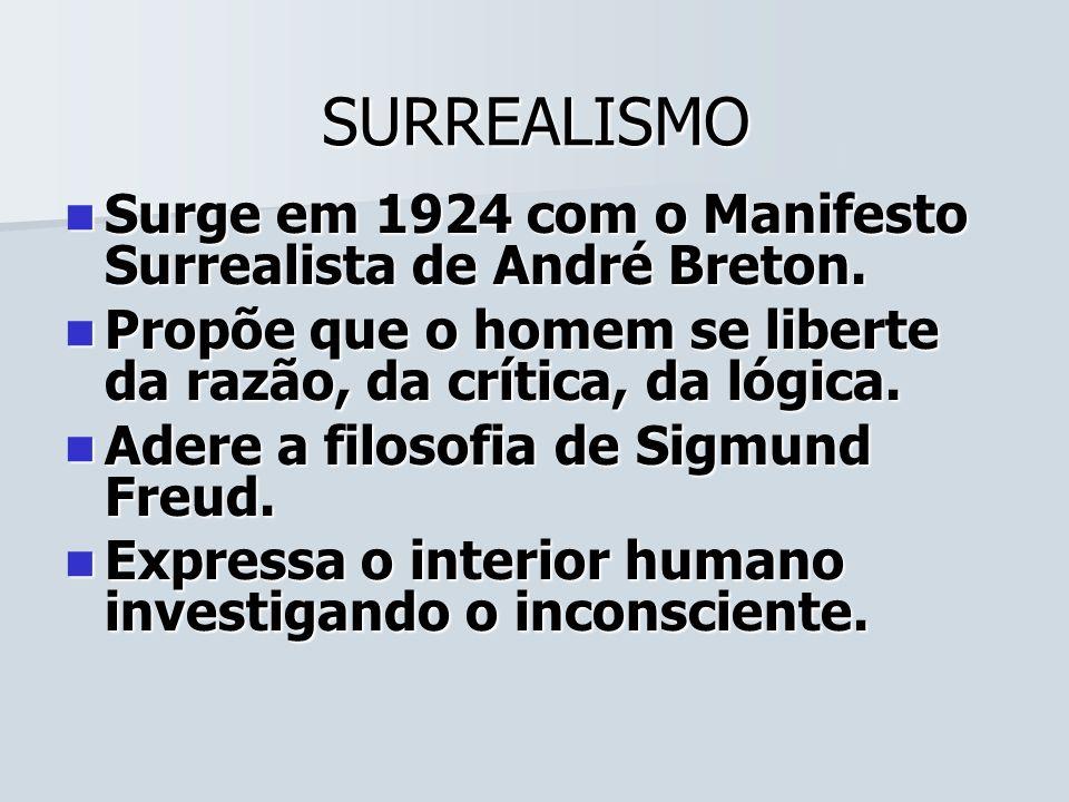 SURREALISMO Surge em 1924 com o Manifesto Surrealista de André Breton. Surge em 1924 com o Manifesto Surrealista de André Breton. Propõe que o homem s