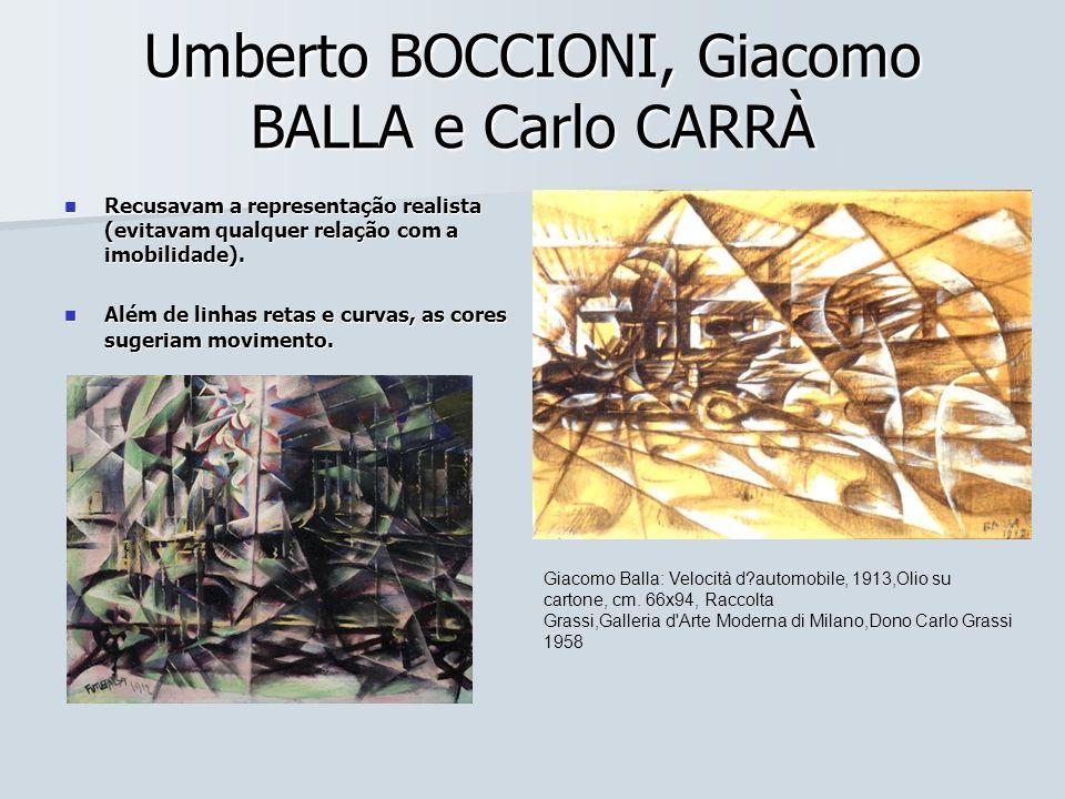 Umberto BOCCIONI, Giacomo BALLA e Carlo CARRÀ Recusavam a representação realista (evitavam qualquer relação com a imobilidade). Recusavam a representa