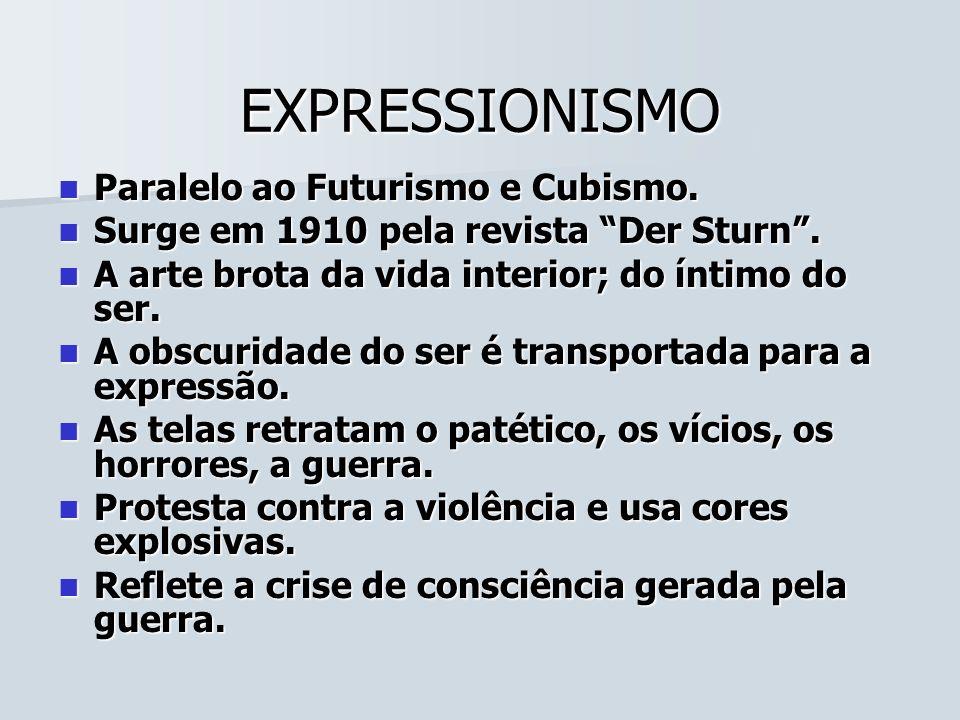 EXPRESSIONISMO Paralelo ao Futurismo e Cubismo. Paralelo ao Futurismo e Cubismo. Surge em 1910 pela revista Der Sturn. Surge em 1910 pela revista Der