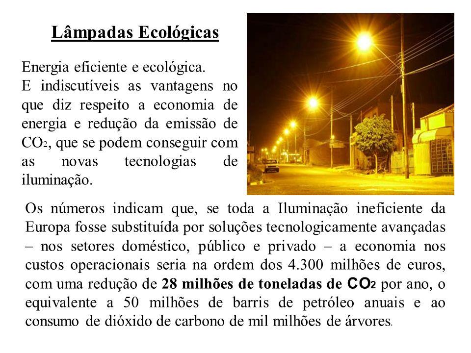 Lâmpadas Ecológicas Energia eficiente e ecológica. E indiscutíveis as vantagens no que diz respeito a economia de energia e redução da emissão de CO 2