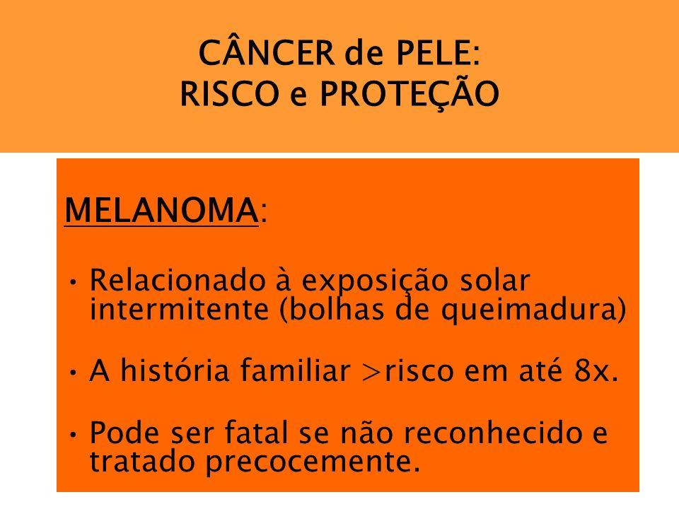 CÂNCER de PELE: RISCO e PROTEÇÃO MELANOMA: Relacionado à exposição solar intermitente (bolhas de queimadura) A história familiar >risco em até 8x. Pod