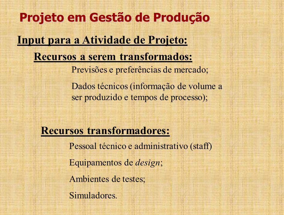 Inter-relacionamento entre Projetos de Produto/Serviço e de Processos: Projeto de Produto/Serviço (devem ser produzi- dos eficientemente) Projeto de P
