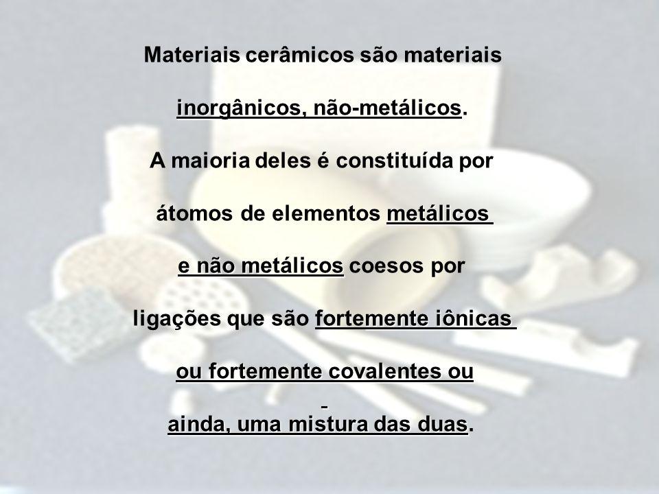 Materiais cerâmicos são materiais inorgânicos, não-metálicos inorgânicos, não-metálicos. A maioria deles é constituída por metálicos átomos de element