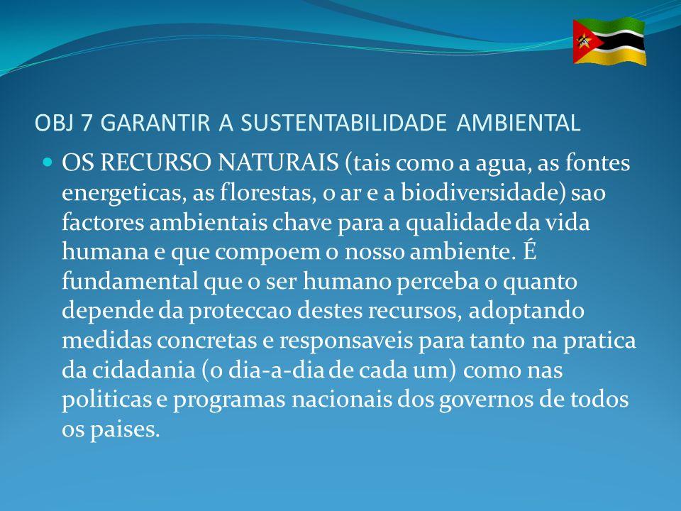 OBJ 7 GARANTIR A SUSTENTABILIDADE AMBIENTAL OS RECURSO NATURAIS (tais como a agua, as fontes energeticas, as florestas, o ar e a biodiversidade) sao f