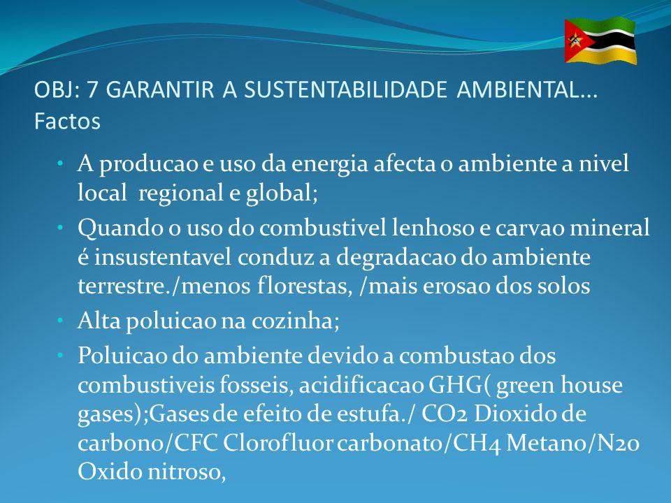 OBJ: 7 GARANTIR A SUSTENTABILIDADE AMBIENTAL... Factos A producao e uso da energia afecta o ambiente a nivel local regional e global; Quando o uso do