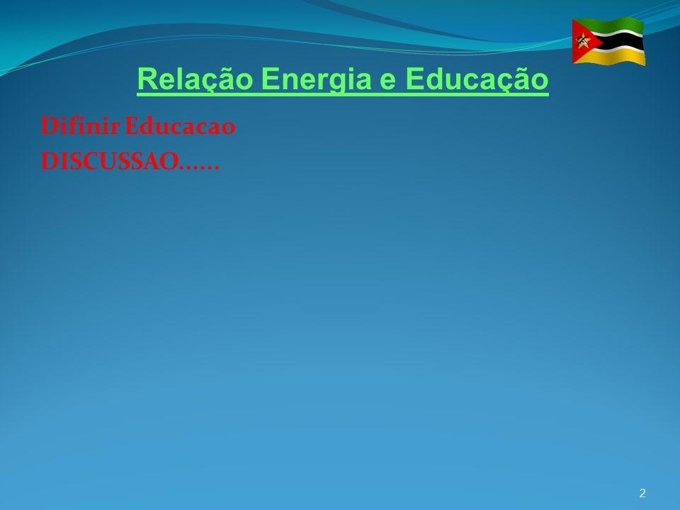Difinir Educacao DISCUSSAO...... 2 Relação Energia e Educação