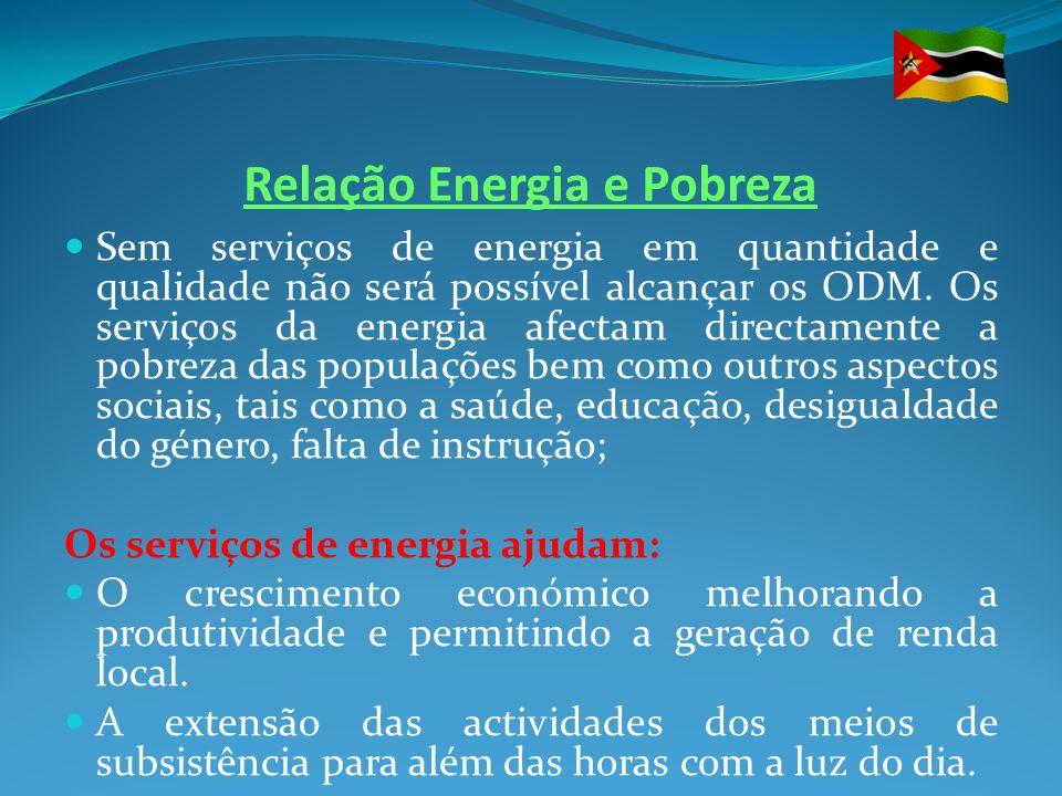 Relação Energia e Pobreza Sem serviços de energia em quantidade e qualidade não será possível alcançar os ODM. Os serviços da energia afectam directam