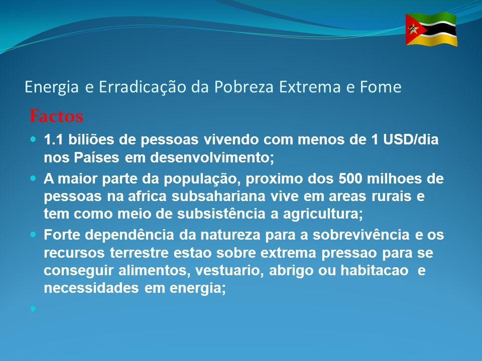 Energia e Erradicação da Pobreza Extrema e Fome Factos 1.1 biliões de pessoas vivendo com menos de 1 USD/dia nos Países em desenvolvimento; A maior pa