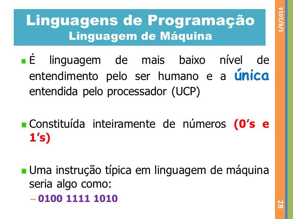 Linguagens de Programação Linguagem de Máquina É linguagem de mais baixo nível de entendimento pelo ser humano e a única entendida pelo processador (U