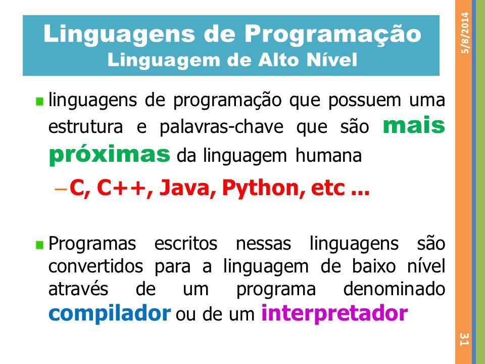 Linguagens de Programação Linguagem de Alto Nível linguagens de programação que possuem uma estrutura e palavras-chave que são mais próximas da lingua