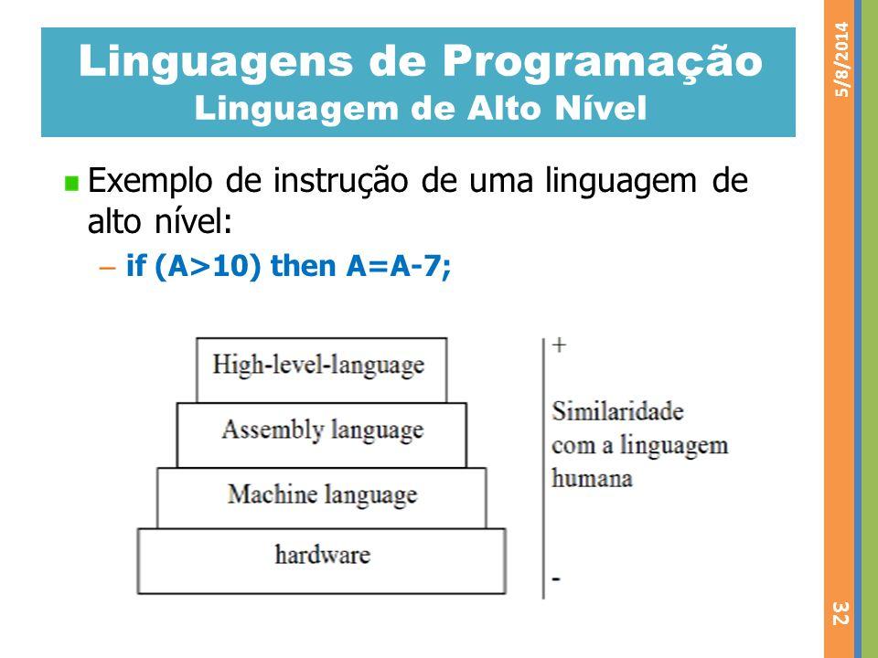 Linguagens de Programação Linguagem de Alto Nível Exemplo de instrução de uma linguagem de alto nível: – if (A>10) then A=A-7; 5/8/2014 32