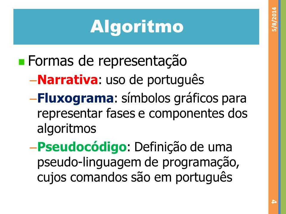 Algoritmo Formas de representação – Narrativa: uso de português – Fluxograma: símbolos gráficos para representar fases e componentes dos algoritmos –