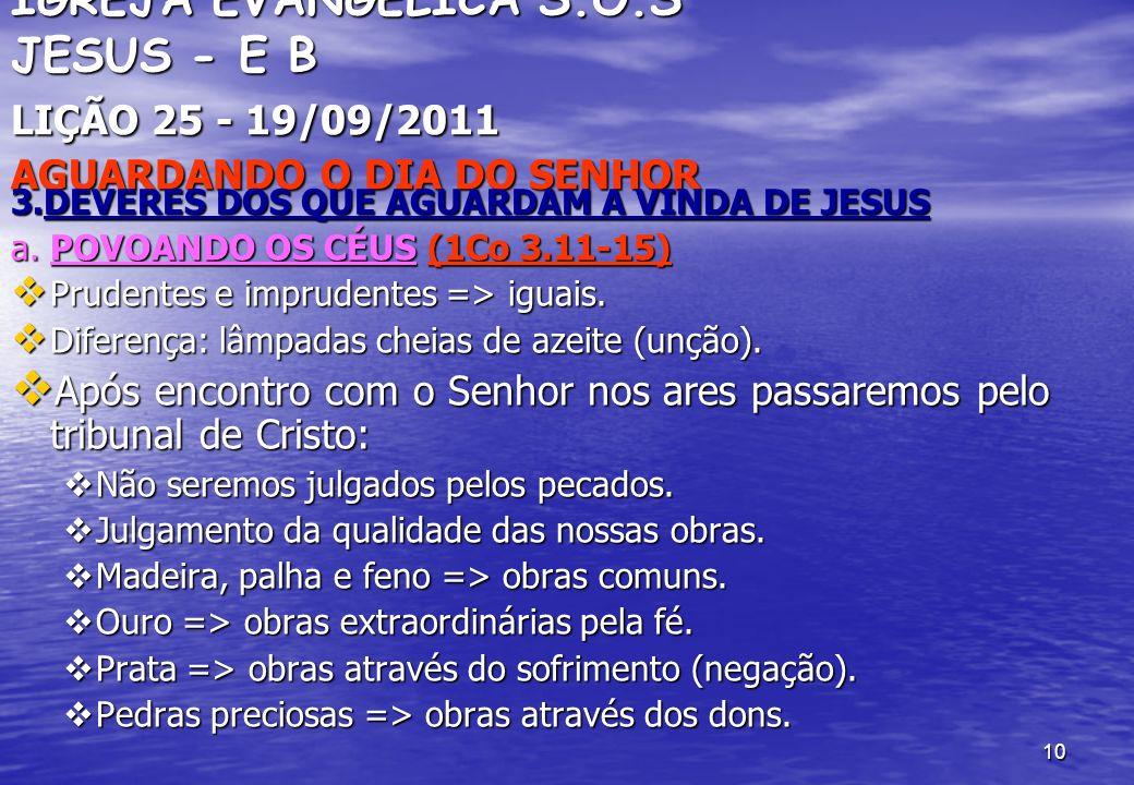 10 IGREJA EVANGÉLICA S.O.S JESUS - E B LIÇÃO 25 - 19/09/2011 AGUARDANDO O DIA DO SENHOR 3.DEVERES DOS QUE AGUARDAM A VINDA DE JESUS a. POVOANDO OS CÉU