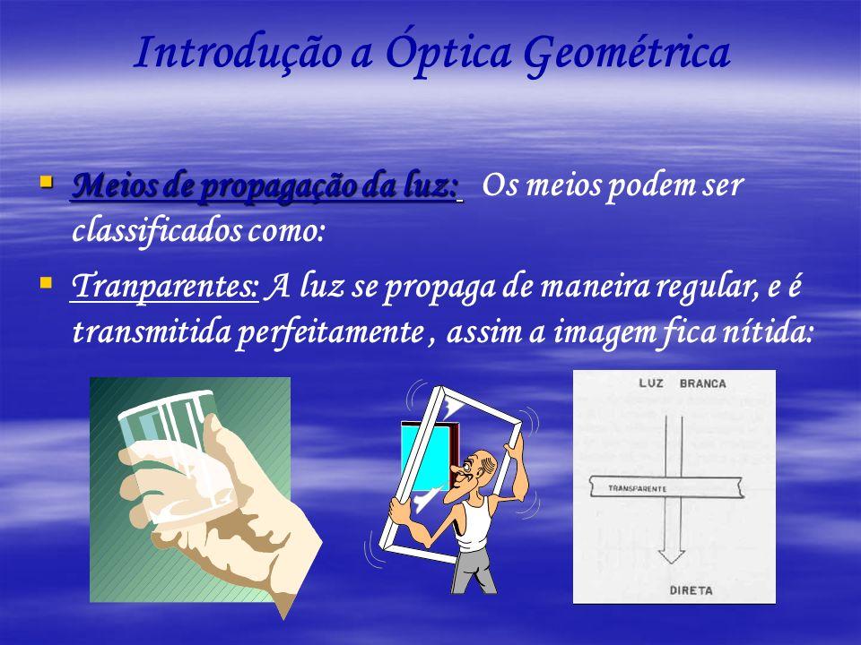 Introdução a Óptica Geométrica Meios de propagação da luz: Meios de propagação da luz: Os meios podem ser classificados como: Tranparentes: A luz se p