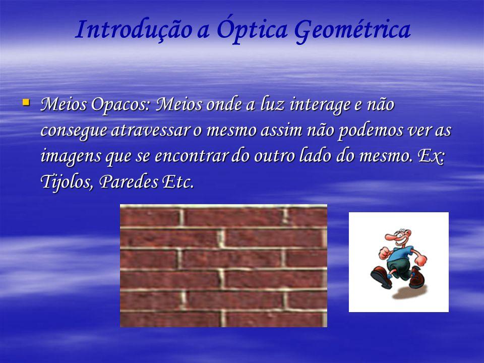 Introdução a Óptica Geométrica Meios Opacos: Meios onde a luz interage e não consegue atravessar o mesmo assim não podemos ver as imagens que se encon