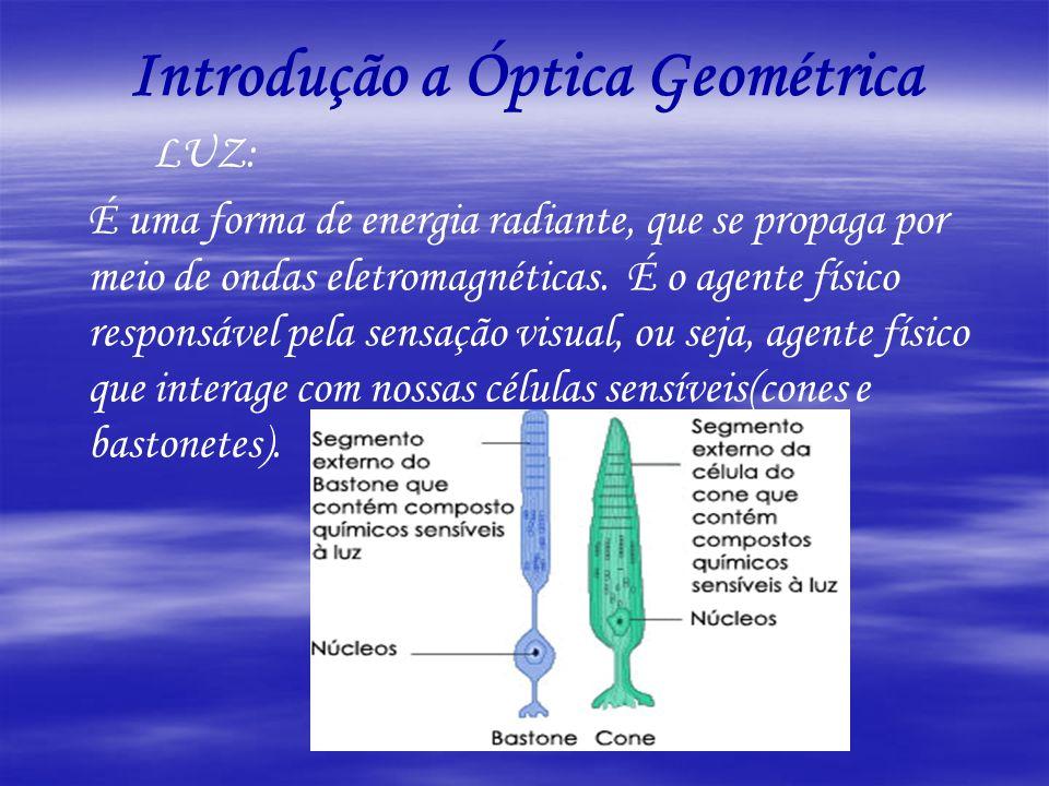 Introdução a Óptica Geométrica LUZ: É uma forma de energia radiante, que se propaga por meio de ondas eletromagnéticas. É o agente físico responsável