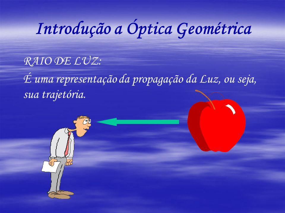RAIO DE LUZ: É uma representação da propagação da Luz, ou seja, sua trajetória. Introdução a Óptica Geométrica