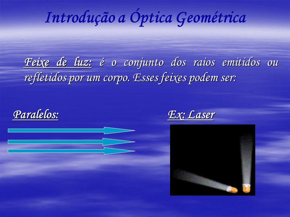 Feixe de luz: é o conjunto dos raios emitidos ou refletidos por um corpo. Esses feixes podem ser: Paralelos: Ex: Laser