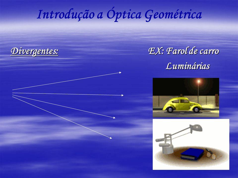 Introdução a Óptica Geométrica Divergentes: EX: Farol de carro Luminárias Luminárias