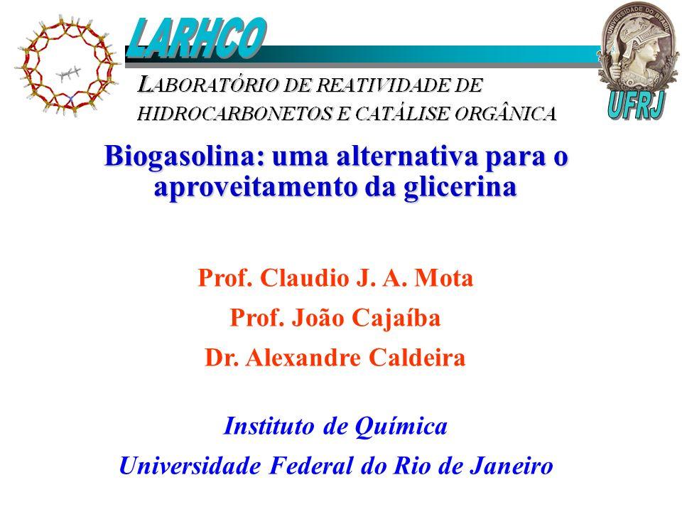 Biogasolina: uma alternativa para o aproveitamento da glicerina Prof. Claudio J. A. Mota Prof. João Cajaíba Dr. Alexandre Caldeira Instituto de Químic
