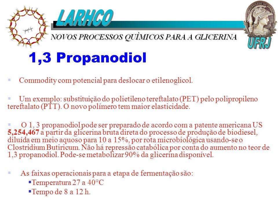 1,3 Propanodiol Commodity com potencial para deslocar o etilenoglicol. Um exemplo: substituição do polietileno tereftalato (PET) pelo polipropileno te