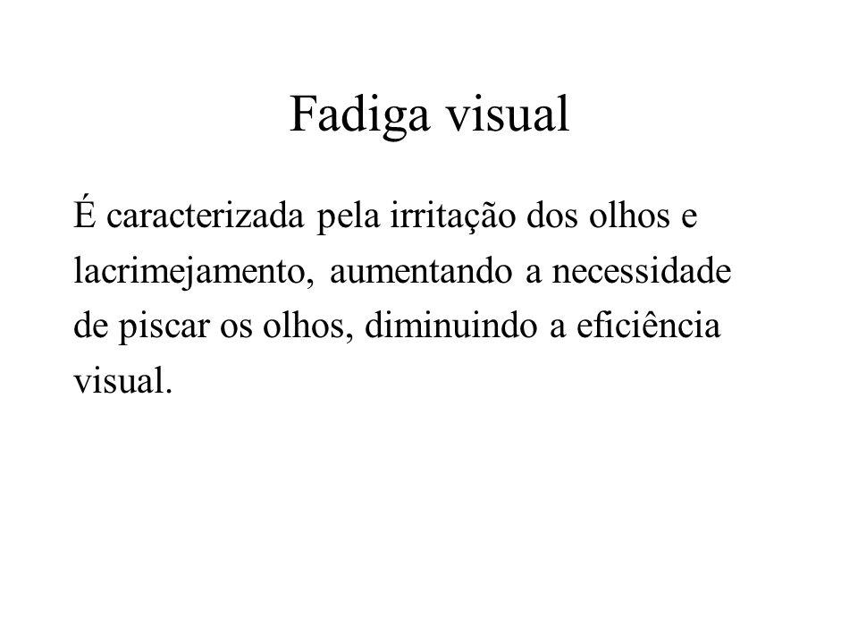 Fadiga visual É caracterizada pela irritação dos olhos e lacrimejamento, aumentando a necessidade de piscar os olhos, diminuindo a eficiência visual.