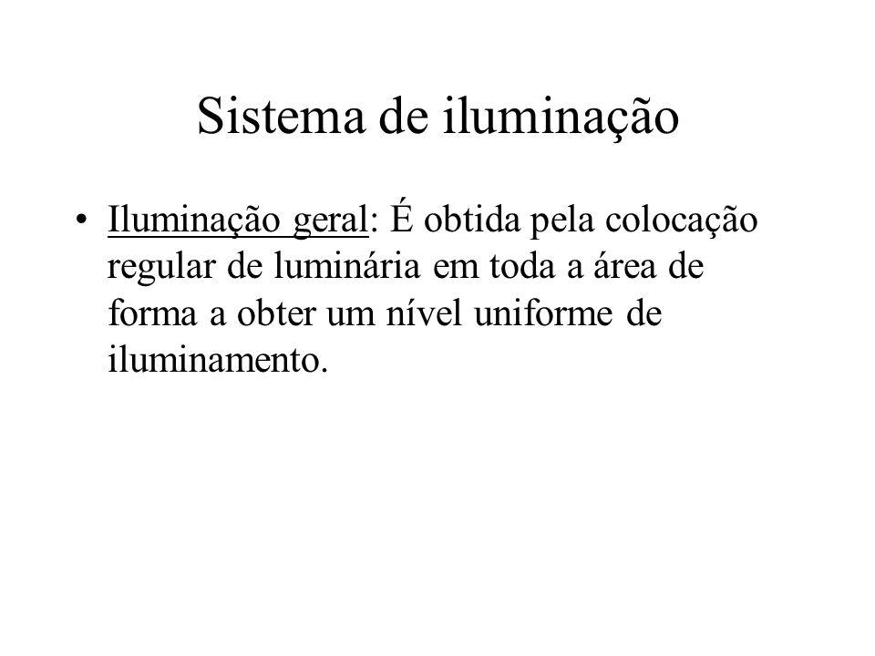 Sistema de iluminação Iluminação geral: É obtida pela colocação regular de luminária em toda a área de forma a obter um nível uniforme de iluminamento