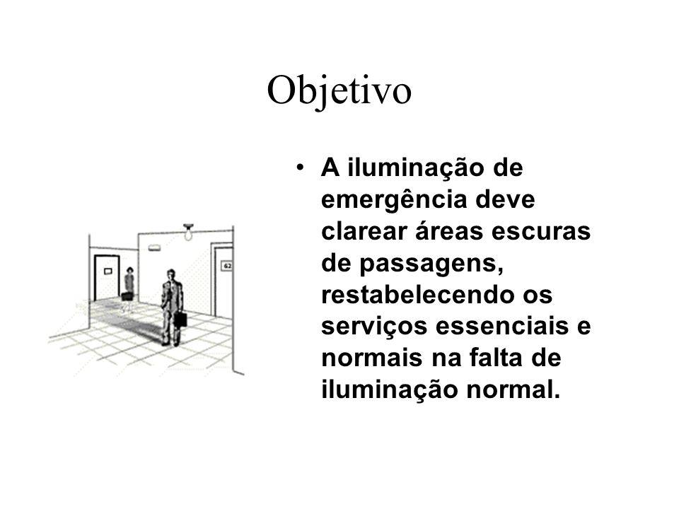 Objetivo A iluminação de emergência deve clarear áreas escuras de passagens, restabelecendo os serviços essenciais e normais na falta de iluminação no