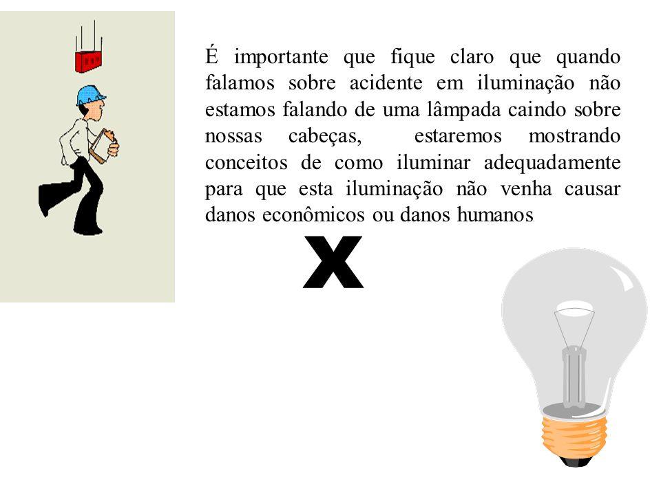 É importante que fique claro que quando falamos sobre acidente em iluminação não estamos falando de uma lâmpada caindo sobre nossas cabeças, estaremos