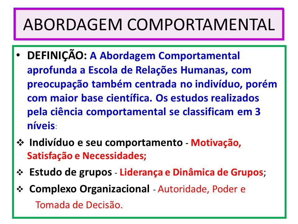 ABORDAGEM COMPORTAMENTAL DEFINIÇÃO: A Abordagem Comportamental aprofunda a Escola de Relações Humanas, com preocupação também centrada no indivíduo, p