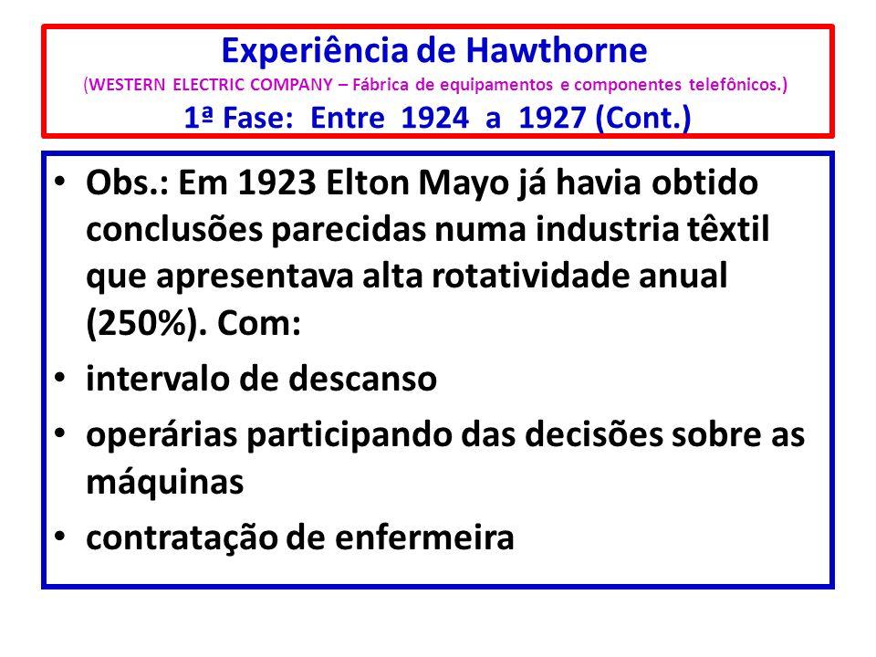Experiência de Hawthorne (WESTERN ELECTRIC COMPANY – Fábrica de equipamentos e componentes telefônicos.) 1ª Fase: Entre 1924 a 1927 (Cont.) Obs.: Em 1