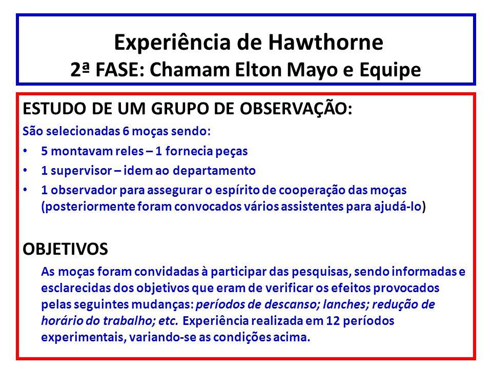 Experiência de Hawthorne 2ª FASE: Chamam Elton Mayo e Equipe ESTUDO DE UM GRUPO DE OBSERVAÇÃO: São selecionadas 6 moças sendo: 5 montavam reles – 1 fo
