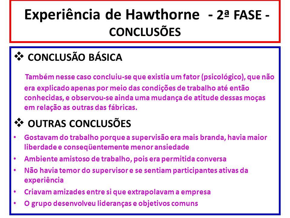 Experiência de Hawthorne - 2ª FASE - CONCLUSÕES CONCLUSÃO BÁSICA Também nesse caso concluiu-se que existia um fator (psicológico), que não era explica