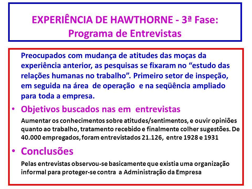 EXPERIÊNCIA DE HAWTHORNE - 3ª Fase: Programa de Entrevistas Preocupados com mudança de atitudes das moças da experiência anterior, as pesquisas se fix