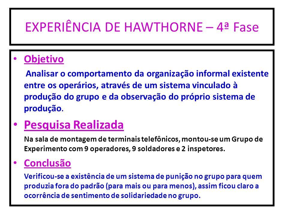 EXPERIÊNCIA DE HAWTHORNE – 4ª Fase Objetivo Analisar o comportamento da organização informal existente entre os operários, através de um sistema vincu