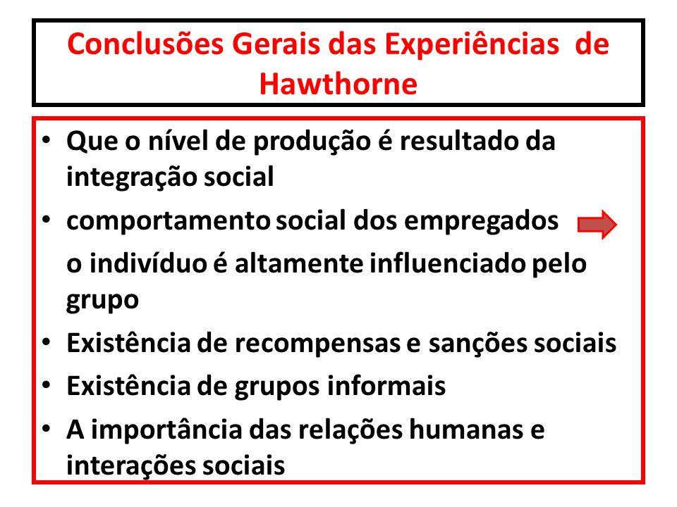 Conclusões Gerais das Experiências de Hawthorne Que o nível de produção é resultado da integração social comportamento social dos empregados o indivíd